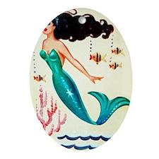 Retro Mermaid  Oval Ornament