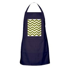 Chevron White olive green  Apron (dark)
