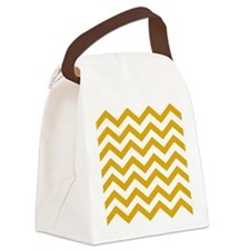 Chevron White Mustard yellow  Canvas Lunch Bag