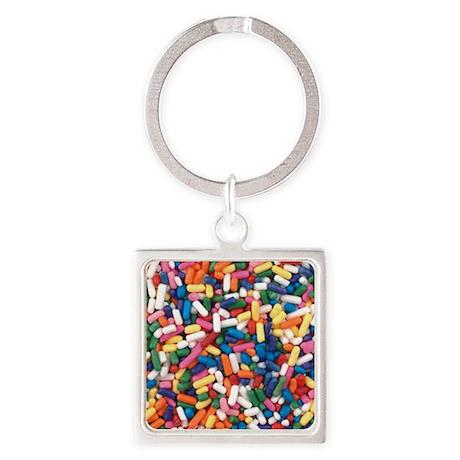 Rainbow Sprinkles Square Keychain