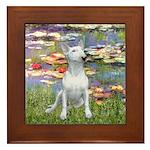 Lilies2-Bull Terrier (P) Framed Tile