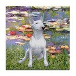Lilies2-Bull Terrier (P) Tile Coaster