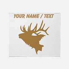 Custom Brown Elk Head Throw Blanket