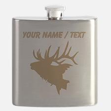 Custom Brown Elk Head Flask
