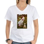 Windflowers Bull Terrier Women's V-Neck T-Shirt