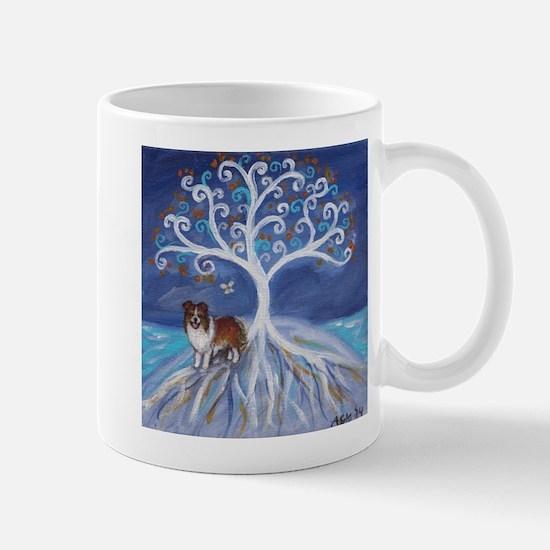Shelltie Dog Tree Mugs