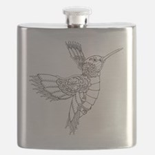 Steampunk Hummingbird Outline Flask