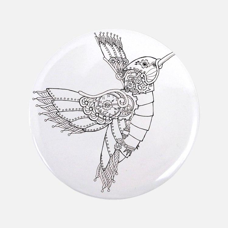 "Steampunk Hummingbird Outline 3.5"" Button"