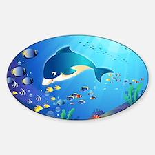 Dolphin & Colorful Sea-Life Digital Sticker (Oval)