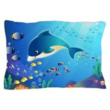 Dolphin & Colorful Sea-Life Digital Il Pillow Case