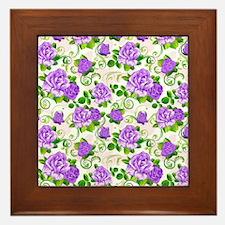 Elegant Vintage Purple Roses White 2 B Framed Tile