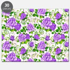 Elegant Vintage Purple Roses White 2 Backgr Puzzle