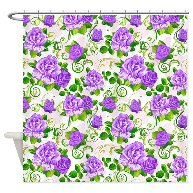 Elegant Vintage Purple Roses White Shower Curtain By