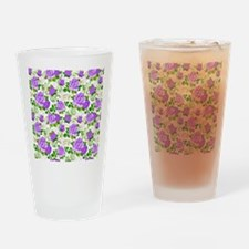 Elegant Vintage Purple Roses White  Drinking Glass