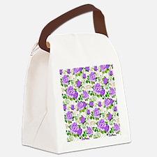 Elegant Vintage Purple Roses Whit Canvas Lunch Bag