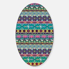 Colorful Hipster Aztec Seamless Tri Sticker (Oval)