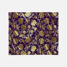 Elegant Purple And Gold Floral Damas Throw Blanket