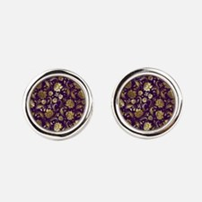 Elegant Purple And Gold Floral Damasks M Cufflinks