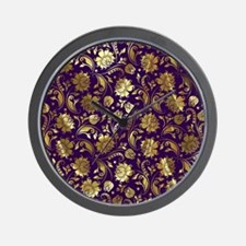 Elegant Purple And Gold Floral Damasks  Wall Clock