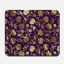 Elegant Purple And Gold Floral Damasks M Mousepad