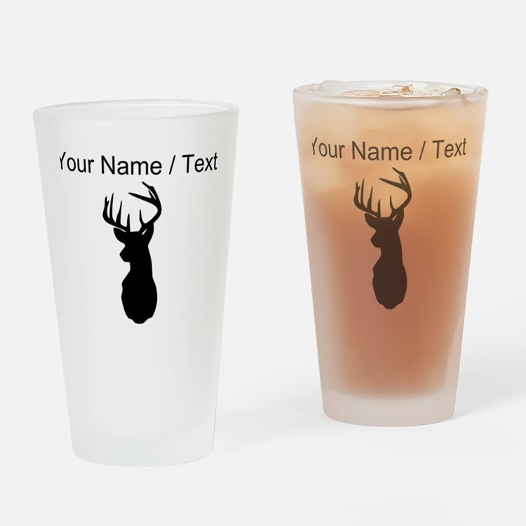 Custom Buck Hunting Trophy Silhouette Drinking Gla