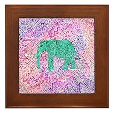 Teal Tribal Paisley Elephant Purple He Framed Tile