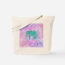 Teal Tribal Paisley Elephant Purple Henna Tote Bag