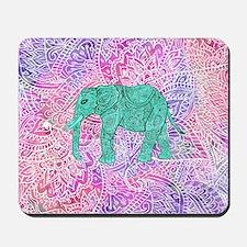Teal Tribal Paisley Elephant Purple Henn Mousepad