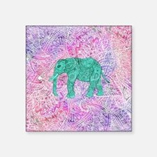 "Teal Tribal Paisley Elephan Square Sticker 3"" x 3"""