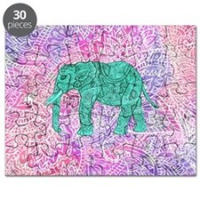 Teal Tribal Paisley Elephant Purple Henna P Puzzle