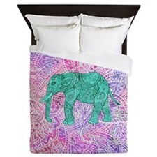 Teal Tribal Paisley Elephant Purple He Queen Duvet