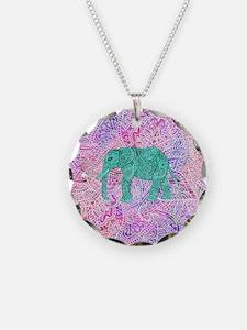 Teal Tribal Paisley Elephant Necklace