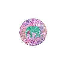 Teal Tribal Paisley Elephant Purple He Mini Button