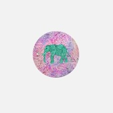 Teal Tribal Paisley Elephant Purple He Mini Button