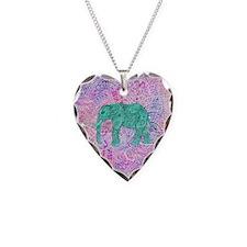 Teal Tribal Paisley Elephant  Necklace Heart Charm