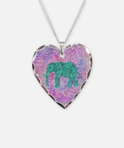 Teal Tribal Paisley Elephant  Necklace Heart Charm