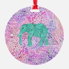 Teal Tribal Paisley Elephant Purple Ornament