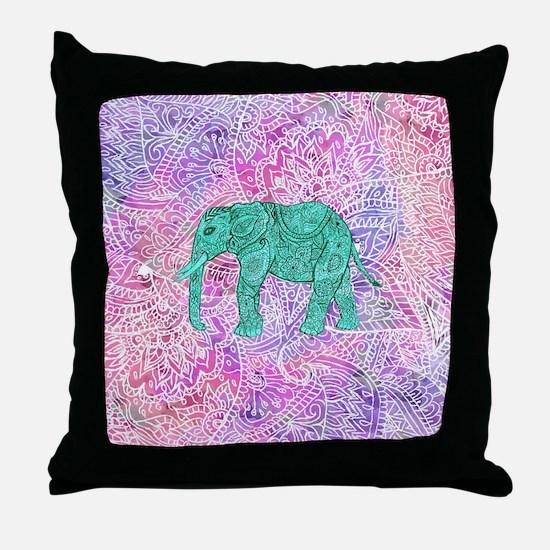 Teal Tribal Paisley Elephant Purple H Throw Pillow