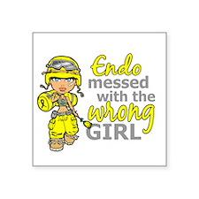 "Combat Girl Endometriosis Square Sticker 3"" x 3"""