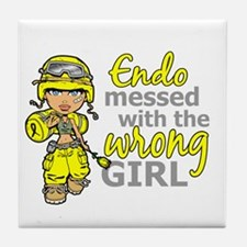 Combat Girl Endometriosis Tile Coaster