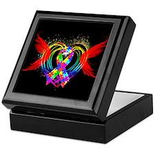 Autism Ribbon with Wings Keepsake Box