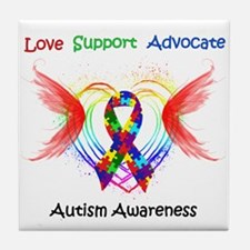 Autism Ribbon with Wings Tile Coaster