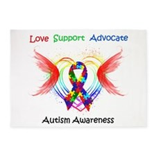 Autism Ribbon with Wings 5'x7'Area Rug