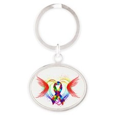 Autism Ribbon with Wings Oval Keychain
