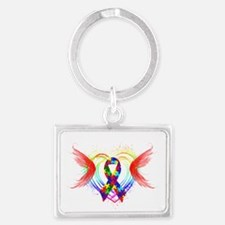 Autism Ribbon with Wings Landscape Keychain