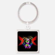 Autism Ribbon with Wings Square Keychain