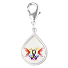 Autism Ribbon with Wings Silver Teardrop Charm