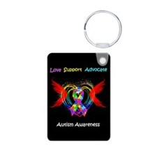 Autism Ribbon With Wings Keychains