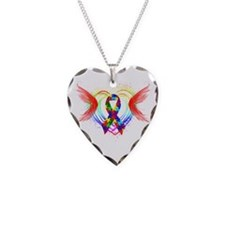Autism Ribbon with Wings Necklace Heart Charm