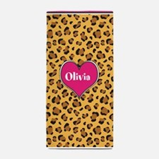 Customized Name Leopard Beach Towel
